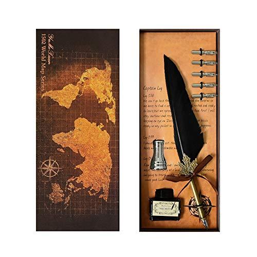 Y-office Vintage pen 5 stuks pen kop retro veer quill dip pen schrijven met inkt kit voor zaak beste vriend cadeau doos zwart schrijfveer