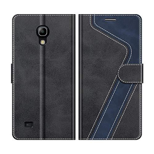 MOBESV Handyhülle für Samsung Galaxy S4 Mini Hülle Leder, Samsung Galaxy S4 Mini Klapphülle Handytasche Hülle für Samsung Galaxy S4 Mini Handy Hüllen, Modisch Schwarz