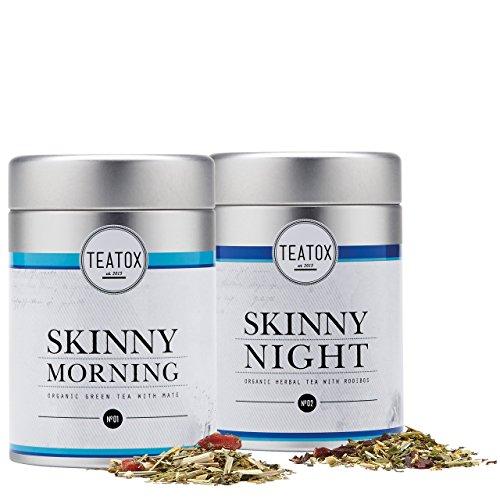 TEATOX Skinny Teatox Programm, Skinny Morning & Skinny Night, Bio Grüntee mit Mate & Bio Kräutertee mit Rooibos (14 Tage Programm in Tee-Dosen)