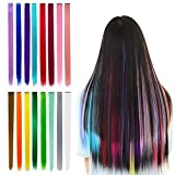 16 Pieces Rainbow Clip in Hair Extensions Color Hair Extensions for Kids Girls Colorful Synthetic Straight Hairpieces Colored Party Highlights Multi-Colors Long Hairpiece for Women (22 Inch)