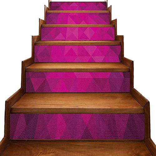 JiuYIBB - Adhesivo creativo para escaleras, diseño simétrico con estrellas blancas, diseño retro, color rosa y blanco