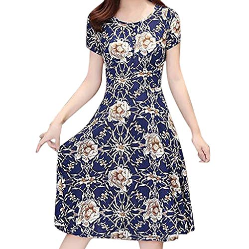 Sonijie Mode Frauen Elegantes Kleid Druck Kurzarm oansatz knielangen Kleid