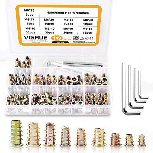 149 teilig M4 M5 M6 M8 Einschraubmuffen Zinklegierung Rampamuffe Sortiment für Holzmöbel Gewindeeinsätze mit Aufbewahrungsbox von VIGRUE