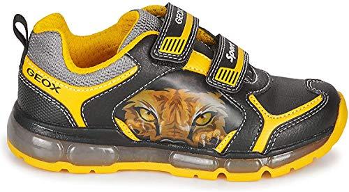 Geox J Android Boy A, Zapatillas para Niños, Black/Yellow, 28 EU