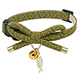 PetSoKoo Cute Bowtie Cat Collar with Bell. Japanese Stylish Bowknot & Fish Charm. Safety Breakaway, Soft, Lightweight, for Girl Boy Male Female Cats Kitten,Green