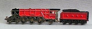 Spilla in Metallo smaltato, Motivo: Treno a Vapore, Scozzese Volante (Rosso)