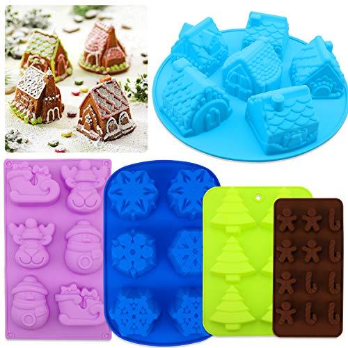 Qpout 5Pack Stampi in Silicone di Natale di Grandi Dimensioni, Stampi per Dolci al Cioccolato in...