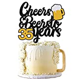 35s Birthday Cake Topper Cheers to 35 Years Decor for Men Women Him Her Happy 35th Birthday Wedding Anniversary Party Supplies Black Glitter Decorations Double Sided