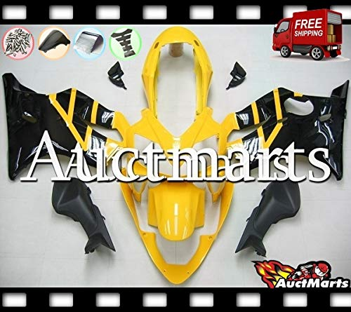Auctmarts Injection Fairing Kit ABS Plastics Bodywork with FREE Bolt Kit for Honda CBR600F4i CBR 600 F4i 2004 2005 2006 2007 Yellow Black Honda Wing (P/N:1g10)