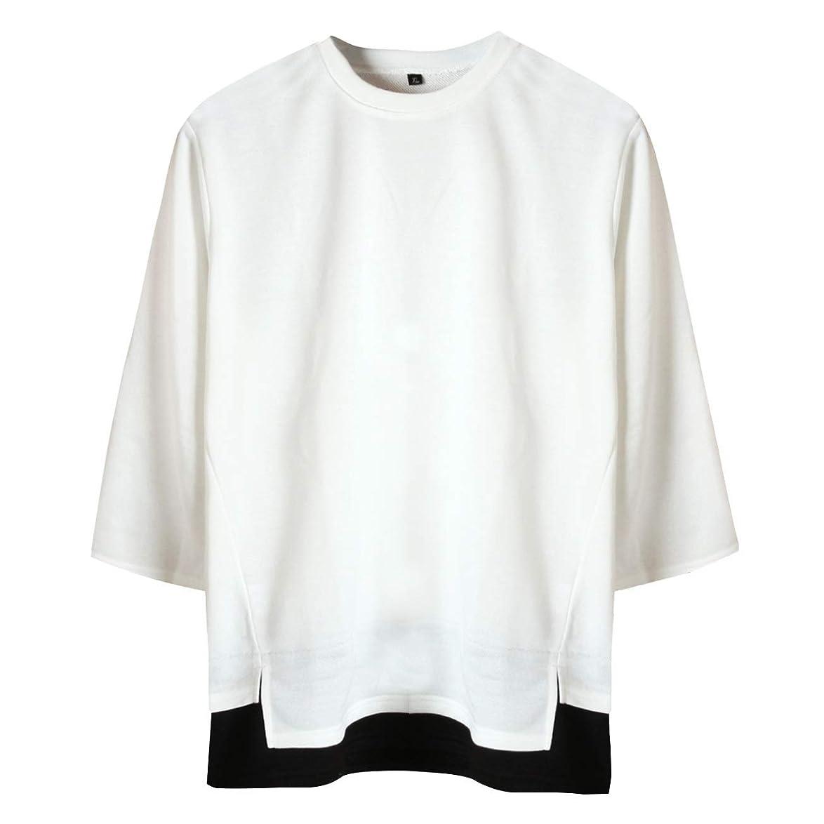断言する配列重さ[サコイユ] カットソー レイヤード風 スウェット M~6XL 7分袖 Tシャツ 薄手 トップス 無地 切替 秋 冬 春 メンズ