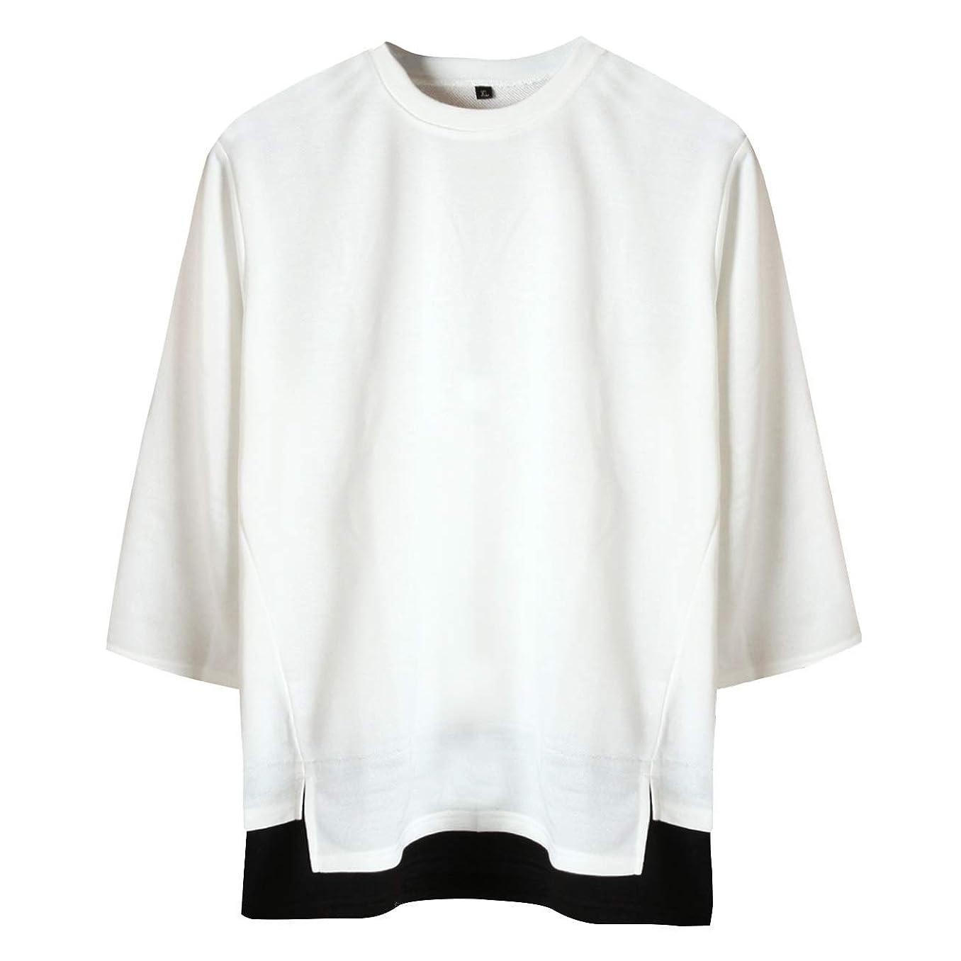 挑む無駄な尋ねる[サコイユ] カットソー レイヤード風 スウェット M~6XL 7分袖 Tシャツ 薄手 トップス 無地 切替 秋 冬 春 メンズ