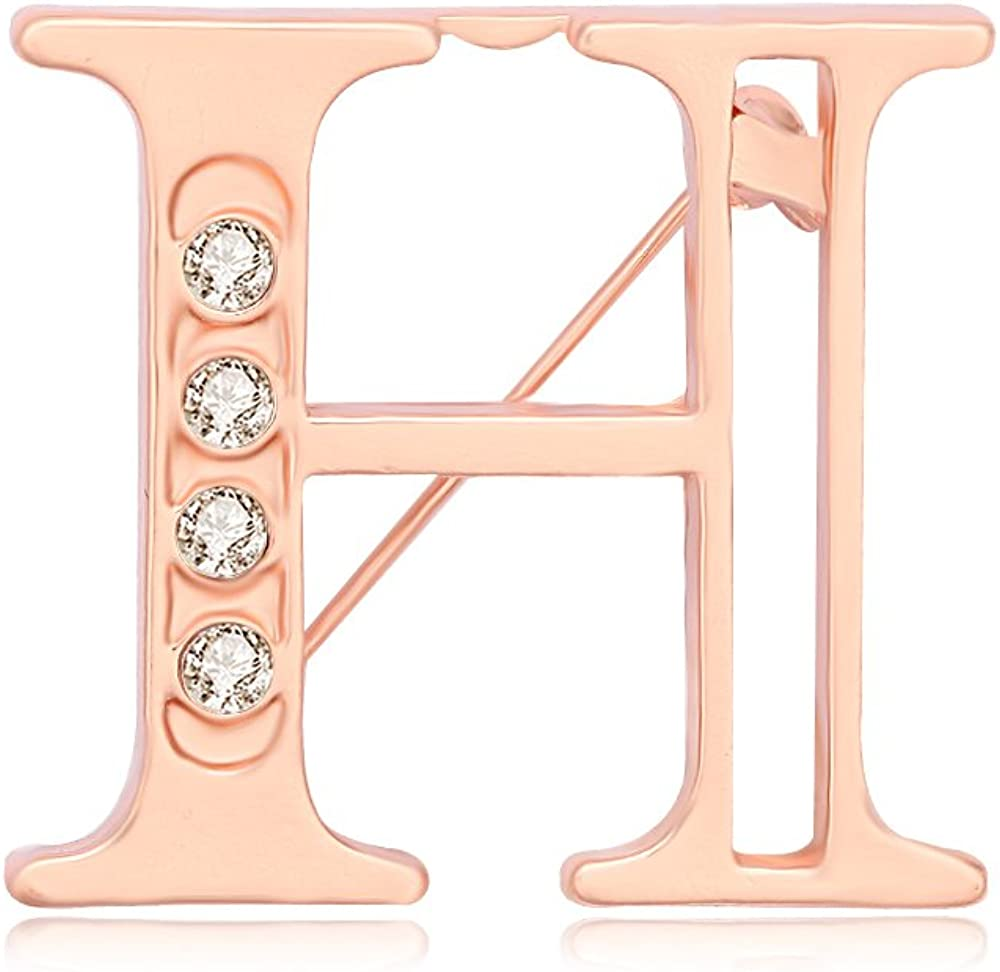 NOUMANDA Rose Gold Plated Fashion 26 Charm Initial Letters Brooch Crystal Pins Big Brooches Letter C D K Brooches