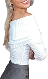 Women Ribbed Knit Long Sleeve Off The Shoulder Blouse Tops Sweater