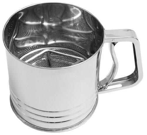 FM Professional 21667 Tamiseur à farine, tamiseur, tamiseur pour farine, tamiseur de cuisine, Acier inoxydable, Argenté, 12 x 13 cm