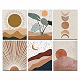 Modern Abstract Mid Century Bohemian Mountains Sun Boho Moon Posters Art Painting Set of 6 (8x10inches ) Living Room Bedroom Hallway Kitchen Housewarming Gift Home Decor Unframed