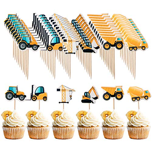 Blasoul School Party Decorations Set,Construction Cupcake Toppers Cupcake for Birthday Party Supplies/Kids Back to School Party Decoration/Preschool Graduation Decoration(36PCS)
