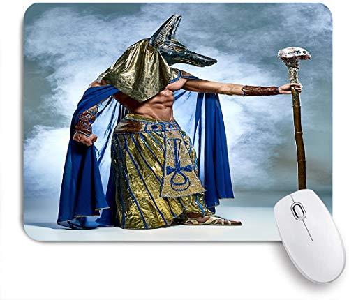 VAMIX Medium Mauspad,Alter ägyptischer Pharao mit einer Maske des nebligen Hintergrunds von Anubis,Laptop Tischunterlage wasserdichte Schreibunterlage für Büro Gaming rutschfest Mauspads 240mm x 200mm