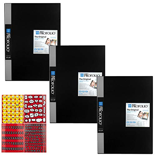 ITOYA 13 x 19 inches Original Art Presentation Book/Portfolio- for Art, Photography, and Documents - Pack of 3 + Scrapbooking Stickers 4 Pages of Emojis, Quotes, Letters & Numbers - Awesome Bundle