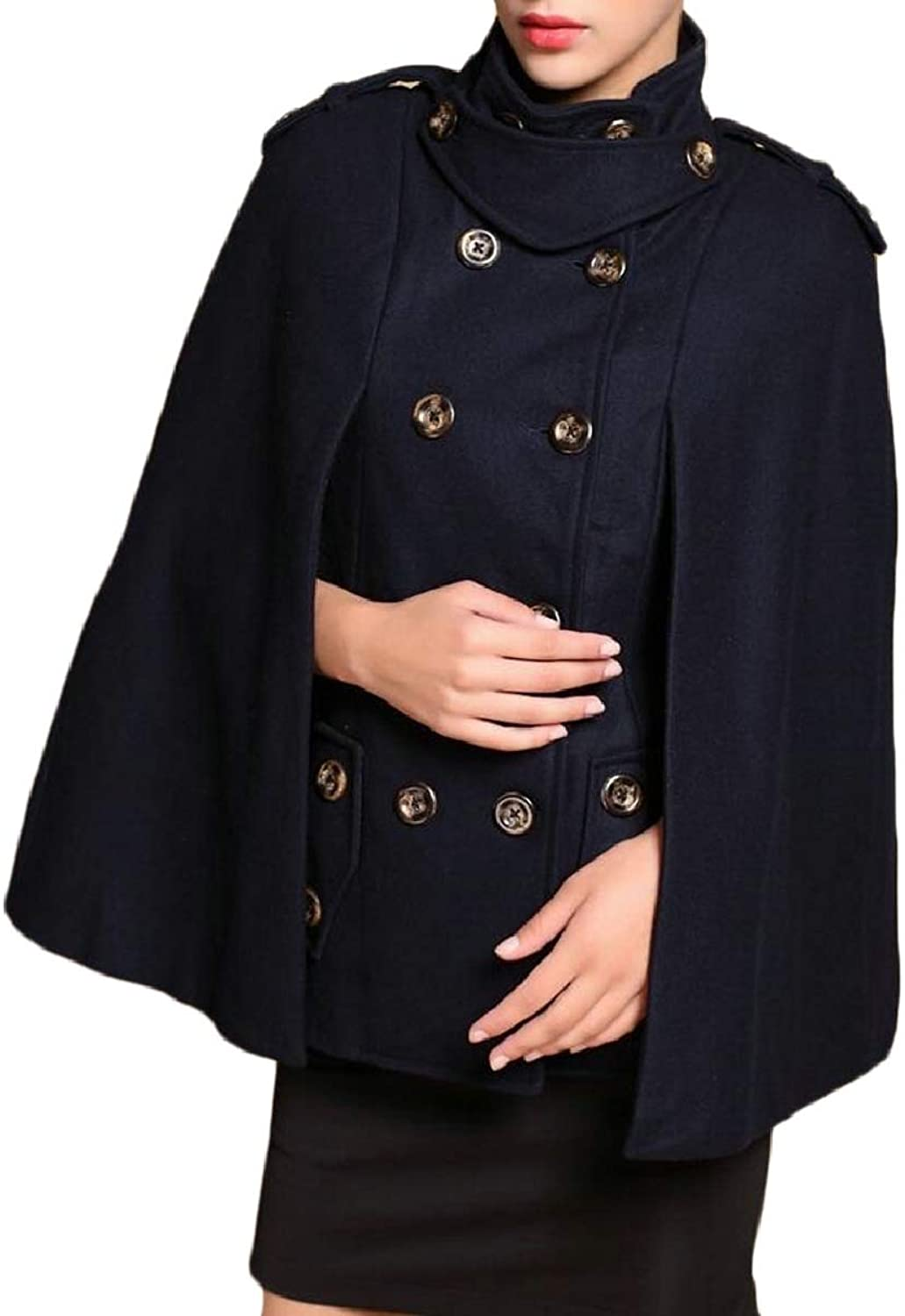 LEISHOP Womens Slim Fit DoubleBreasted Cloak Wool Pea Coat Overcoat