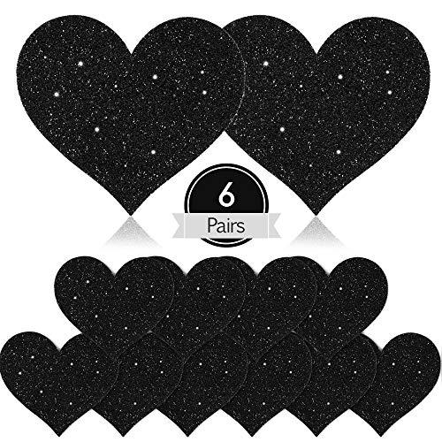SATINIOR 6 Paar Glitzer Nippel Brusthüllen Herzförmige Nippel Sticker Einweg Nippelpasteten (Schwarz)