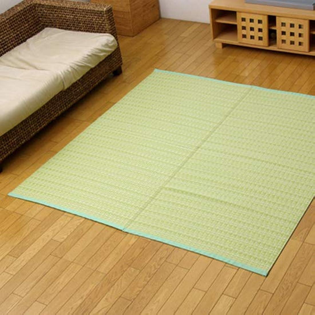 吸収剤罰イディオム洗える PPカーペット 『バルカン』 グリーン 江戸間6畳(約261×352cm)