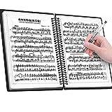 楽譜ファイル バンドファイル 楽譜入れ 書込みOK 反射しない 吹奏楽 オーケストラ 合唱 演奏会 コンクール 2ページ見開き 20ポケット 40ページ A4サイズ リング式 180度 防水 無地 大容量 黒