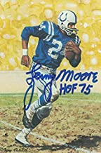 Lenny Moore Autographed/Signed Baltimore Colts Goal Line Art Card Blue HOF 12482 - NFL Autographed Football Cards