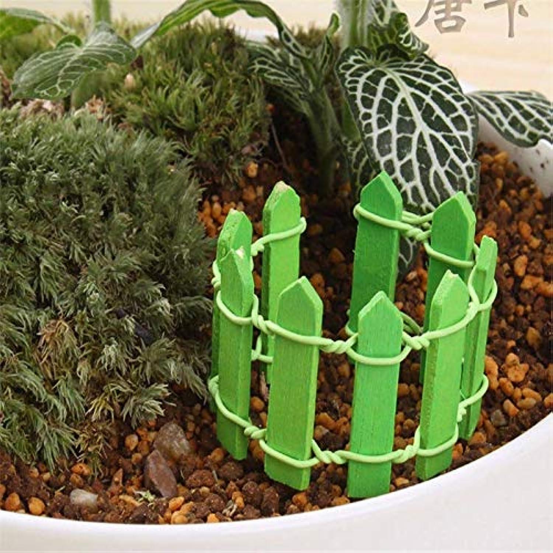 曲申請者グレーJicorzo - 20個DIY木製の小さなフェンスモステラリウム植木鉢工芸ミニおもちゃフェアリーガーデンミニチュア[緑]
