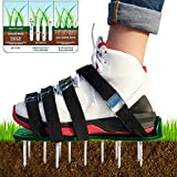 longdafei Lawn Aerator Shoes, 26 Spikes and 4 Adjustable Straps for Effectively Aerating Your Yard, Lawn, Soil, Roots & Grass