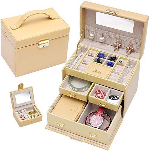Jewelry Box for Women, Caja de almacenamiento de joyería pequeña, con estuche portátil y espejo Joyería de joyería de múltiples capas Joyería de joyería, mejores regalos para mujeres niñas Trinket de