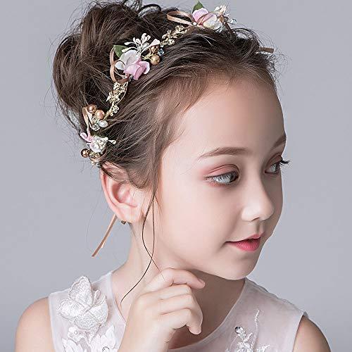 IYOU Princesa Multicolor Flor Tocado Perla Vestido de Pelo Cristal Nupcial Boda Accesorios para el Pelo para Niñas de Flores