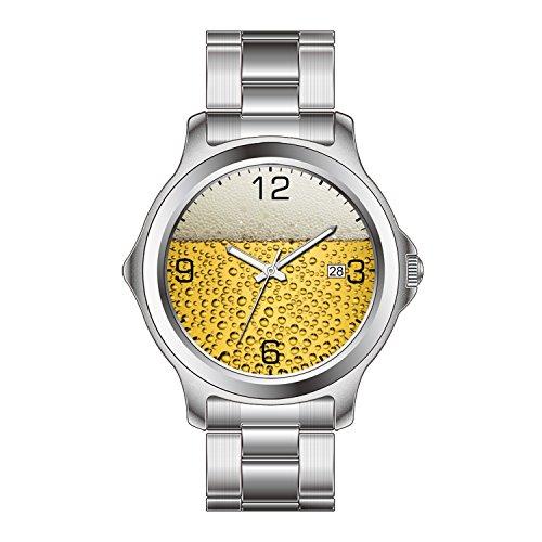 FDC Kerstmis Gift Horloges Vrouwen Mode Japanse Quartz Datum RVS Armband Horloge Bier Glas Met Nummers