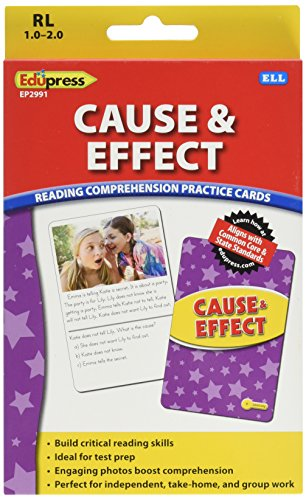Edupress Reading Comprehension Practice Cards, Cause & Effect, Yellow Level (EP62991)