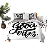 DRAGON VINES Bed Sheets Queen Cotton Good Vibes Bed Sheets Full Set Hand Drawn Style Lettering Motivation Phrase with Modern Artistic Grunge Look W90 xL90 Black White