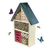 CLEVER GARDEN Wooden Insect House and Hotel, Natural Bug Habitat Attracts Bees, Butterflies, Ladybugs, and More, Medium