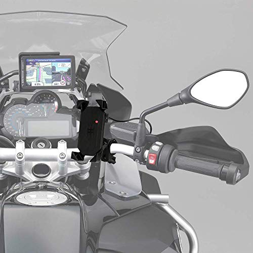 "Motorcycle Phone Mount Holder with USB Charger Port Universal for 7/8"" Handlebar Cradle Holder for Smartphone GPS, iPhone/Plus-Motorcycle Yamaha FZ07 Vstar 650 Ducati KTM KLR650 R1200GS"