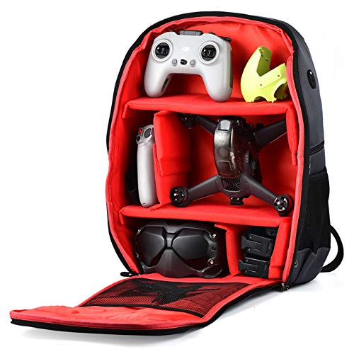 PONYRC Backpack for DJI FPV Combo, Waterproof Shockproof Shoulder Bag Case for DJI FPV Racing Drone, Goggles V2, Remote Controller 2,Motion Controller,Battery & Accessories (Grey Bag with Red Inner)