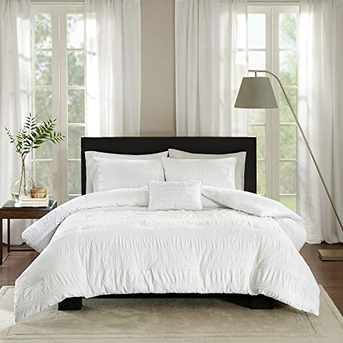 Madison Park Nicolette Duvet Cover King/Cal King Size - White, Striped Duvet Cover Set – 4 Piece – 100% Cotton Light Weight Bed Comforter Covers
