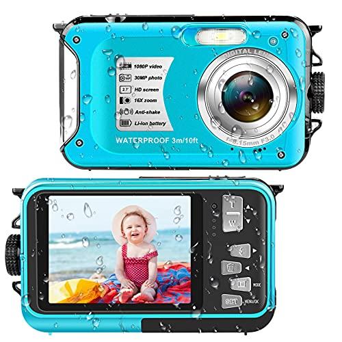 Underwater Cameras Waterproof Camera 30 MP Full HD 1080P Video Recorder 16X Digital Zoom 10 FT Waterproof Digital Camera Underwater Camera for Snorkeling