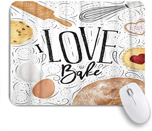 Dekoratives Gaming-Mauspad,Bäckerei-Keks-Ei-Schneebesen-Nudelholzbrot in der Weinlese,Bürocomputer-Mausmatte mit rutschfester Gummibasis
