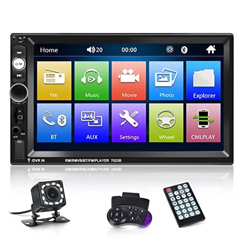 NHOPEEW Radio Doble DIN Compatible con Android / iPhone Mirror Link 2 DIN 7 Pulgadas Pantalla táctil Radio de Coche con Bluetooth Manos Libres / Doble USB / SD / AUX / SWC + Cámara de visión Trasera