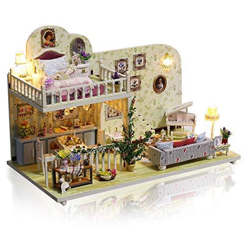 GuDoQi DIY Puppenhaus Miniatur Kit, 3D Hölzernes Puppenhaus Bausatz mit Möbeln und Musik, Handgefertigte Modellbausätze für Erwachsene und Sammler, Mini Amsterdam Zimmer