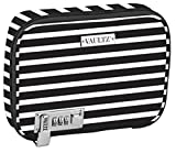 Vaultz Locking Everyday Case for Cosmetics Storage, Black and White Stripe (VZ03756)