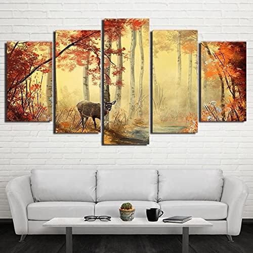 Cuadro En Lienzo,Imagen Impresión,Pintura Decoración Ciervos y Bosque de Arce Rojo Cuadro Moderno En Lienzo 5 Piezas,Murales Pared Hogar Decor XXL 150x80cm(60x32inch)