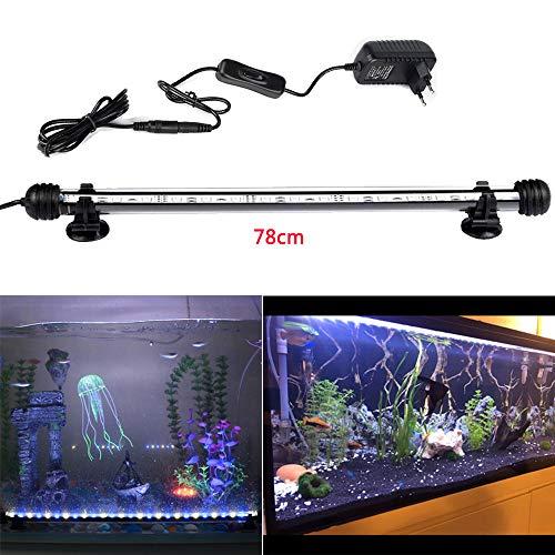 DOCEAN 5050SMD 45 Leds Acuario iluminación LED de lámpara Bombilla Lighting Luz LED Sumergible para Acuarios Resistente al Agua IP68, 78cm, luz Blanca & Luz Azul