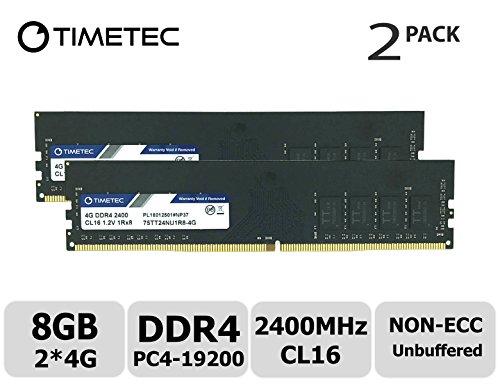 Timetec Hynix IC DDR4 2400MHz PC4-19200 Non ECC Unbuffered 1.2V CL17 2Rx8 Dual Rank 288 Pin UDIMM Desktop PC Computer Memory Ram Module Upgrade (8GB (4GBx2))