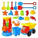 Kinder 20 Stück Strand Sandspielzeug Set, Sand Tisch Sand spielen mit Sandkasten Spielzeug, Sandsack mit Mesh, Sandspielset Strandspielzeug Sand und Wasser Spielzeug Set für Kinder ab 3 Jahre