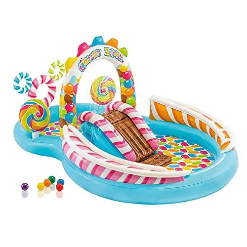 SVNA Piscina Inflable con tobogán de Caramelo Piscina de Arena para niños Piscina de Bolas oceánicas Patio Centro de natación Piscina Inflable 295x191x130cm