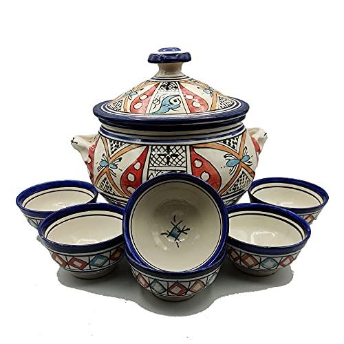 Sopera 6 tazas cerámica terracota marroquí sopa fondue cocina 2505210904