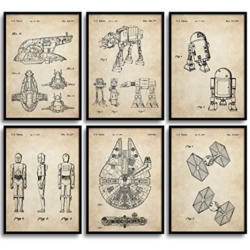 MONOKO® Star Wars Bilder Patent Poster Krieg der Sterne Poster Set - 6er Set ohne Rahmen (Set Krieg der Sterne, Patent, Vintage, 6 x A4 (21 x 29,7cm))